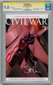 Civil War #1 Second Print Variant CGC 9.8 Signature Series Signed Steve McNiven Marvel comic book